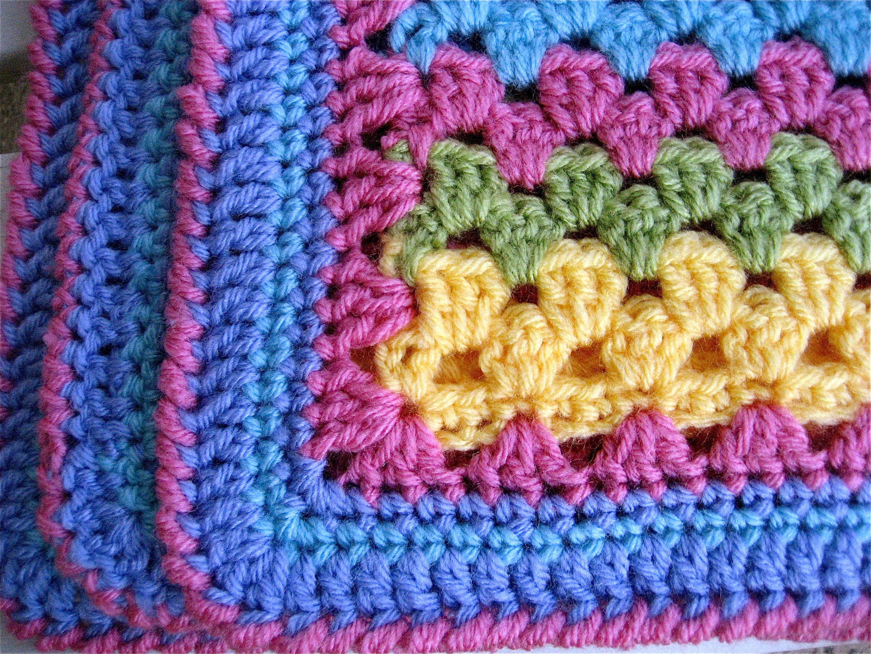Crochet Pattern For Granny Stripe Baby Blanket : Baby Granny Stripes Big A, Little A