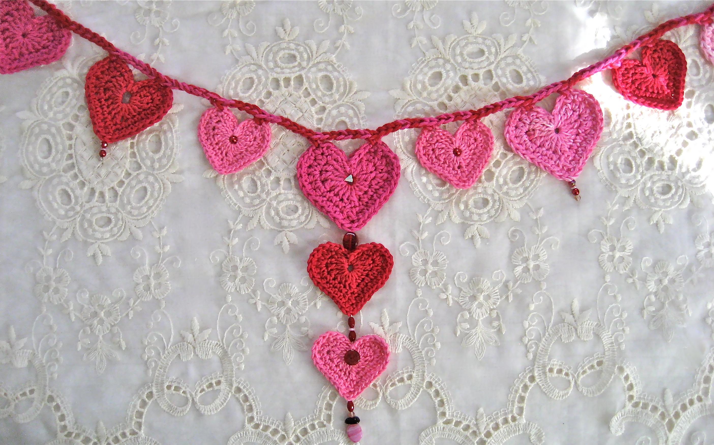 Valentines Day Crochet Heart Garland Big A Little A