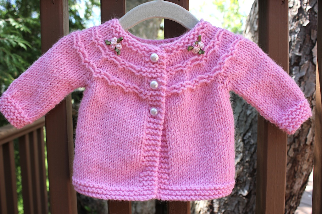 Knitting Sweater Design For Baby Girl : Pretty in Pink (a baby sweater) Big A, Little A