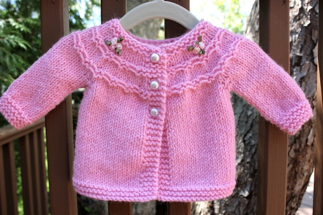 Free Crochet Pattern Little Girl Sweater : Pretty in Pink (a baby sweater) Big A, Little A