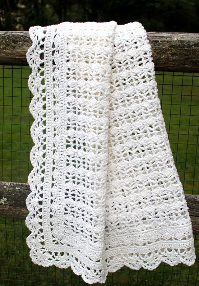 Irish Lace Crochet Afghan Pattern : Crocheted Baby Blanket Big A, Little A