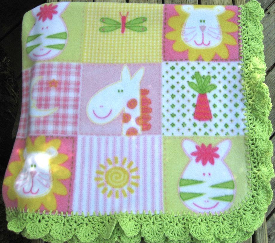 Flannel Baby Blanket Crochet Edging Patterns : Crocheted Edge Fleece Baby Blanket Big A, Little A