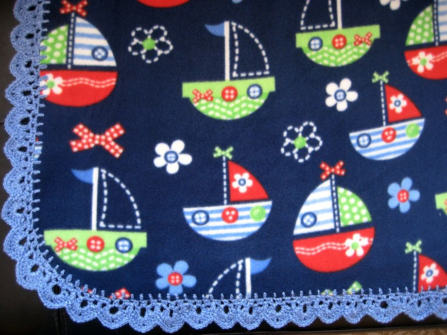 Crocheted Edge Fleece Baby Blanket Big A Little A