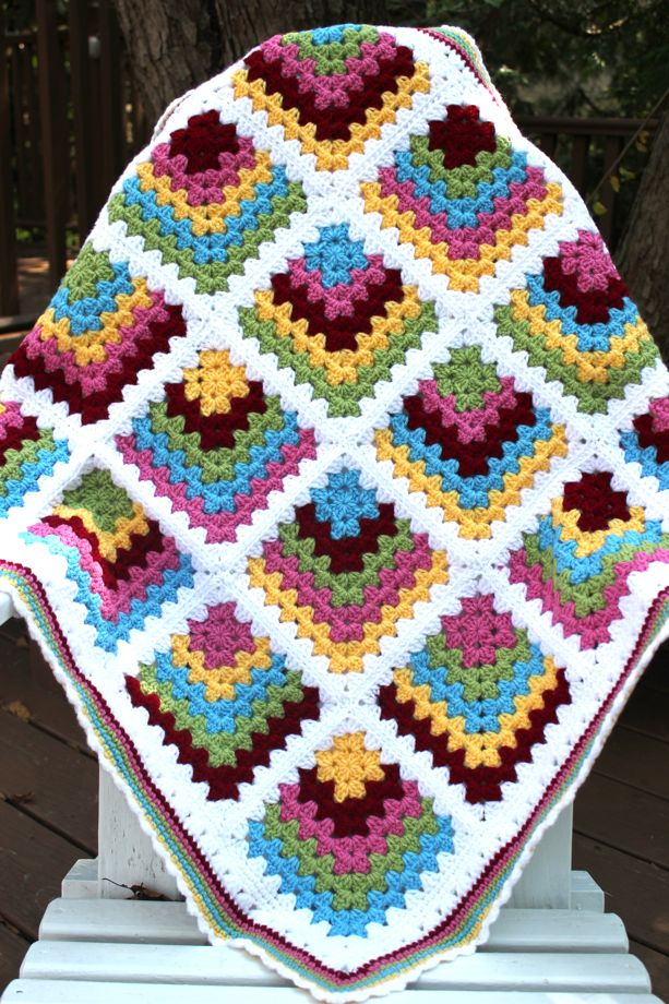Mitered Granny Square Baby Blanket Big A Little A