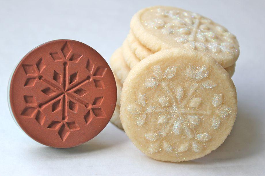 Snowflake Stamped Shortbread Cookies