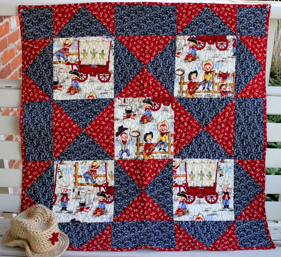 Cowboy Cute Baby Quilt And Hat Big A Little A