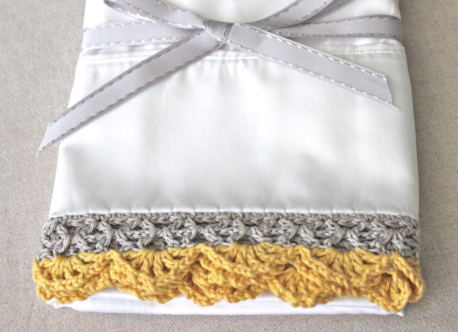 Crocheted Edge Pillowcases Big A Little A