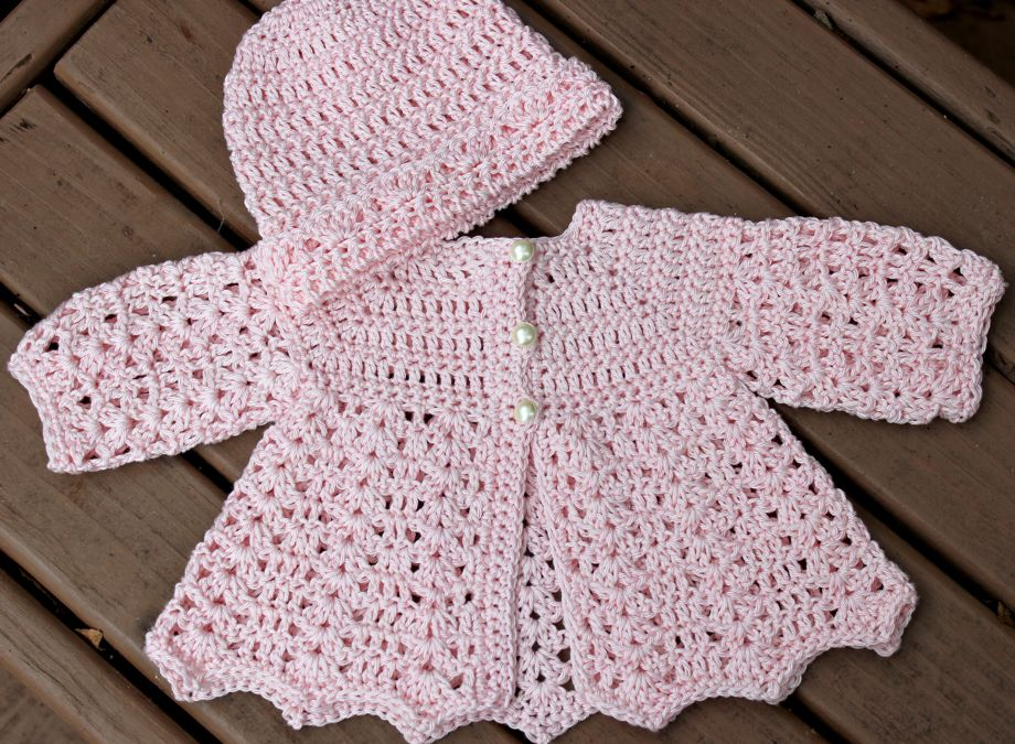 Crochet Baby Hat And Sweater Pattern : Sweet Newborn Crocheted Hat and Cardigan Big A, Little A